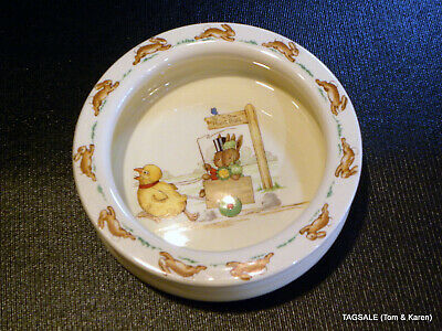 Royal Doulton Bunnykins Child's Bowl ~ Bunny Family in a Cart Pulled by Chicken.