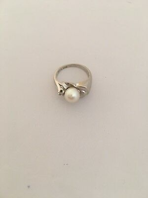 14K White Gold Rt Cultured Pearl Ring With Diamond, 5 1/4