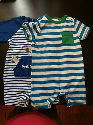Lot: Hanna Andersson Boys Striped Romper Size 80 Gymboree Romper 18-24 months