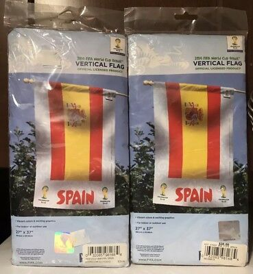 "WinCraft 2014 FIFA World Cup 2 Spain Vertical Flags New 27""x37"" National Soccer"