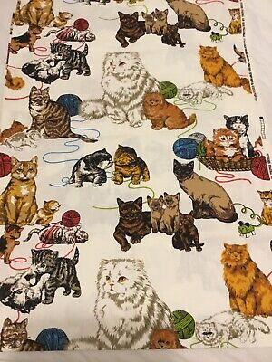 Vintage Kitten Cat Triple Shiels Heavy Cotton Fabric 2 Yards RARE HTF