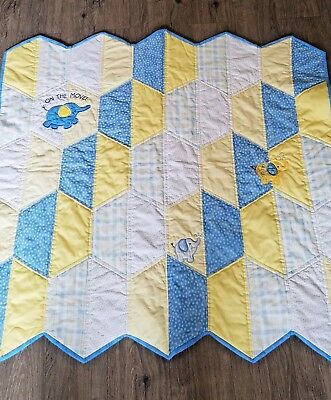 Handmade Baby Quilt yellow, blue, white with embroidered elephants
