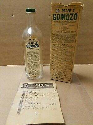 Vintage Dr.Peter Fahrney&Sons Gomozo Laxative 18 oz bottle w/ box & product book