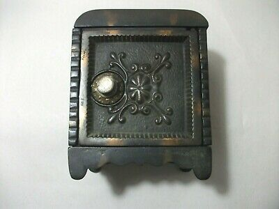 Medallion Cast Iron Safe Bank w/Rounded Top.