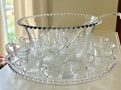 COMPLETE Vintage Imperial Glass Candlewick Punch Bowl Under-plate 12 Cups Ladle