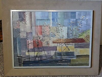 Canadian Oil Painting Unsigned Sail Boats, Seagulls, Background Highrises