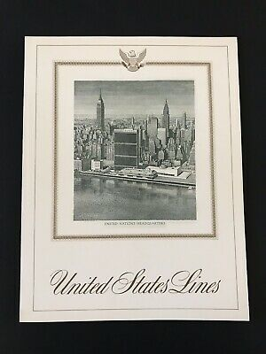 """S.s. """"united States"""" Ship Line Dinner Menu, August 26, 1960 - United Nations Ny"""