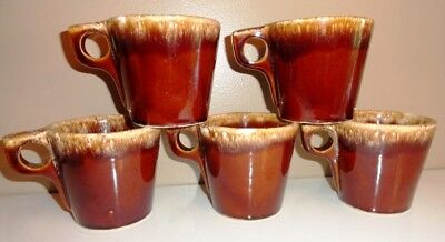 5 HULL POTTERY BROWN DRIP RIM COFFEE MUGS CUPS LOT OF 5 Vintage Antique