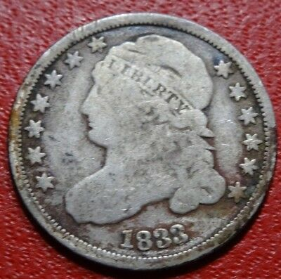 Rare 1833 CAPPED BUST DIME Old 10C SILVER Coin Strong Date LIBERTY LOW MINTAGE