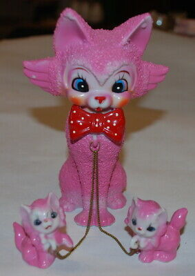 Vintage Pink TILSO Kitsch Tabby Cat & Kittens Chained Family - Japan