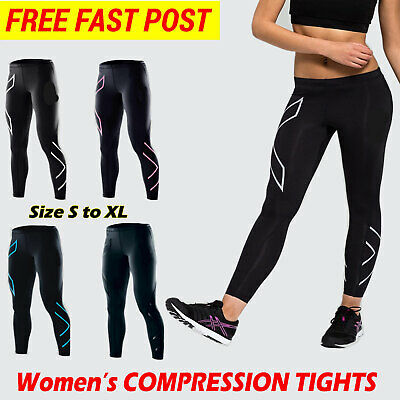 Womens Compression Base Layer Skin Tights Long Pants Running Yoga Trousers AU