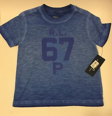 NWT Polo Ralph Lauren Graphic Cotton T-Shirt Tee Top Toddler Boys Blue Size 3/3T