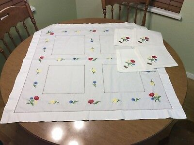 German Spring Linen Tablecloth Embroidered 32.5 In square & Napkins Handmade