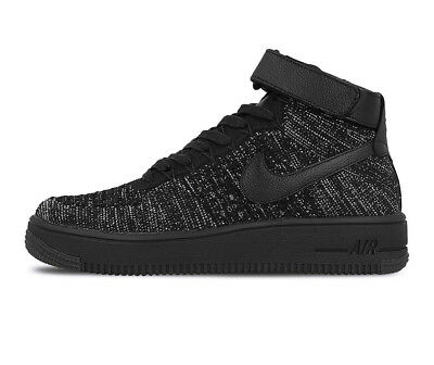 best sneakers 5f3c5 a9ea1 FEMMES Nike Af1 Flyknit Chaussures Pointure 11 Black Blanc 818018 002