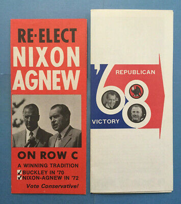 RICHARD NIXON and SPIRO AGNEW for President Set of 2 Campaign Flyers (1968/1972)
