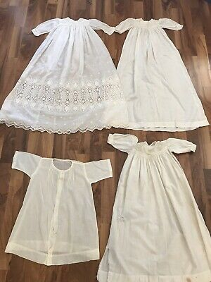 Christening Dress Nighty Antique Victorian Edwardian White Cotton Vintage Lot