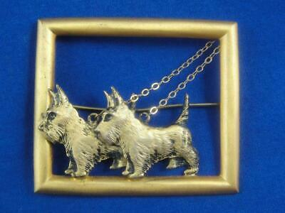 Vintage Gold Tone Double Scottish Terrier Scotty Dog on Leashes Pin Brooch