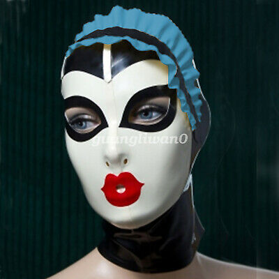 New 100% Latex Rubber Gummi Fashion Headgear Mask Lace 0.4mm Size S-XXL