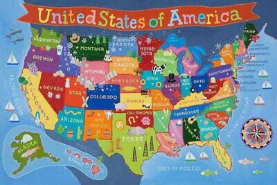 Round World - Kid's USA Laminated Map 36 x 24in