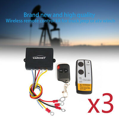3XElectric Wireless Remote Control Kit for Truck Jeep/ATV Winch Capstan 50ft 12V