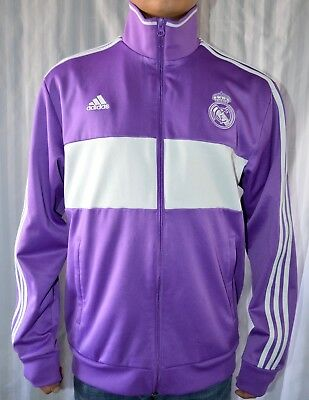 a8012962d Adidas Real Madrid Football Soccer Purple White Full Zip Track Jacket Size L