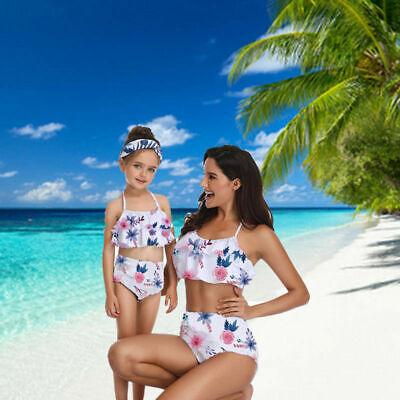 US Two Piece Mother Daughter Bikini Family Matching Ruffle Swimsuit High Waisted