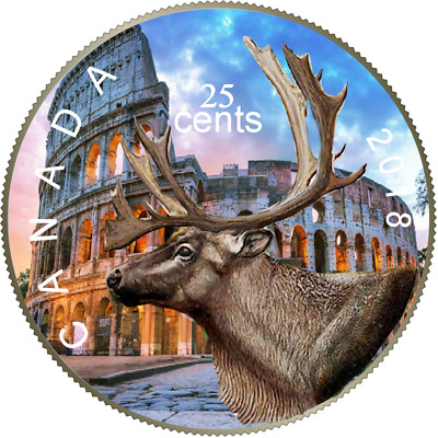 2018 Canadian Coloured Quarter Famous Places Edition the Colosseum in a Card.