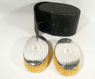 2 Antique Cased RODEN STERLING SILVER Mens Clothes BRUSH Grooming Mono TS or ST