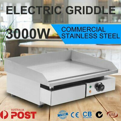 Commercial 3000W Electric Griddle Plate BBQ Hot Grill Plate 304 Stainless Steel