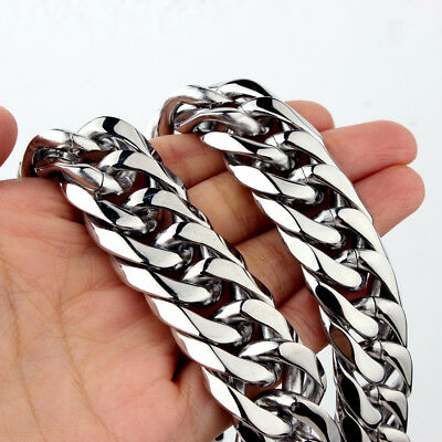 16/19/21mm Heavy Silver Cut Curb Cuban Chain 316L Stainless Steel Mens Necklace