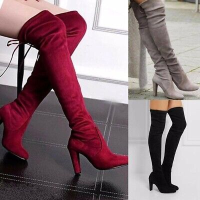Women Ladies Suede Over The Knee Block Thigh High Platform Heel Lace Boots
