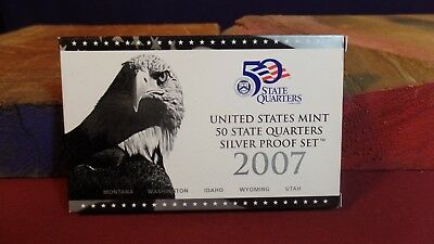 2007 US Mint 50 State Quarters Silver Proof Set in box with COA