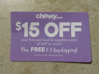 CHEWY.COM $15 OFF First Order of $49+ New Customers Shipping Offer Exp 3/31/09