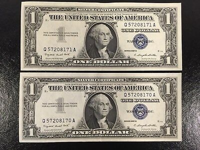 $1 1957A United States Silver Certificates 2 Consecutive Serial AU