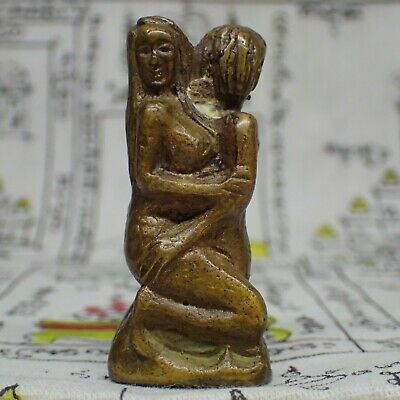 Sexual Amulet Man-Woman Statue Erotic Brass Figure Thai Attraction Amulet