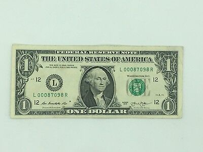 $1 Federal Reserve Note- Low Serial Number 00087098