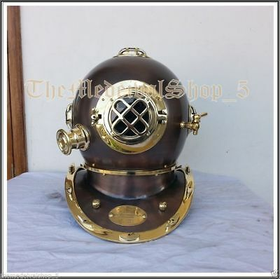 Solid Brass Antique US Navy Divers Diving Helmet Vintage Style Full Size Gift