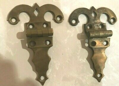 "Pair of Ornate Cabinet Door Hinges Vintage Antique 5""  Salvage Hardware Offset"