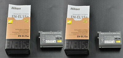 2 X Original EN-EL15A Battery For Nikon D850 D810 D750 D610 D7500 D7200 D800