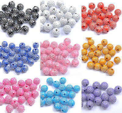 100 ACRYLIC Colorful Artful Charms Spacer Loose ROUND BEADS - Choose 8MM 10MM