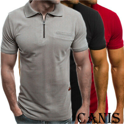 Mens Slim Zipper Fit Polo Shirts Short Sleeve Casual Muscle T-Shirt Tops Tee