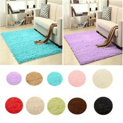 Large Carpet Small Shaggy Floor Rug Plain Soft Sparkle Mat Thick Pile Home Decor