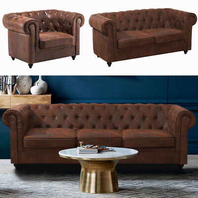 Distressed Tan Big Sofa Chesterfield 3 + 2 Seater+Armchair Antique Leather Couch