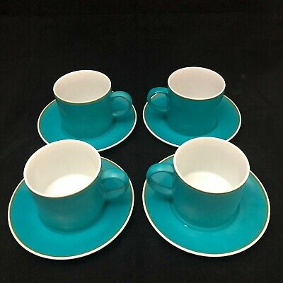 Vintage Set of 4 KELCO Turquoise Coffee Cups & Saucers. Excellent Condition