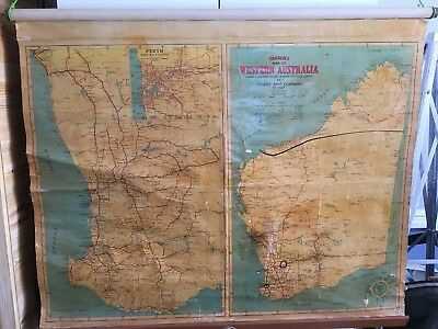 VTG. CRAIGIE'S MAP OF WESTERN AUSTRALIA POSTAL TOWNS & RAILWAY STATIONS. c1960's