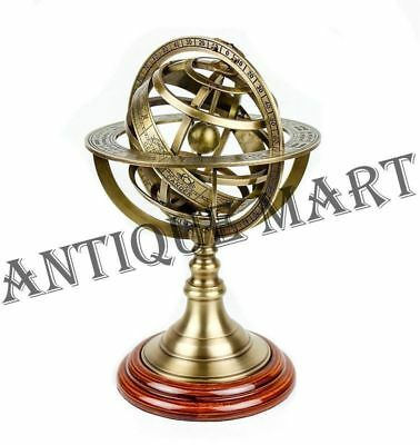 Antique Large Engraved Brass Armillary Nautical Sphere Globe World Armillary 10""