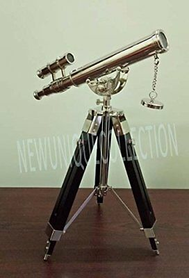 Collectible Antique Nautical Brass Telescope With Tripod Stand Handmade Vintage