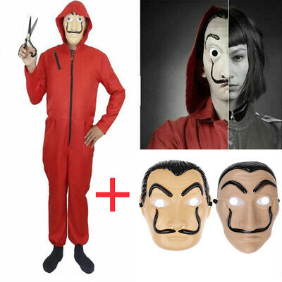 Salvador Dali La Casa De Papel Money Heist Red Jumpsuit Mask Costume Cosplays