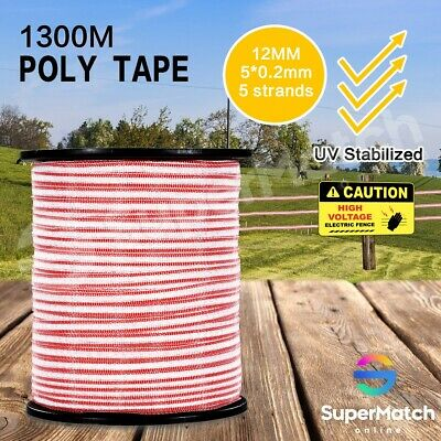 1300M Electric Fence Poly Tape Insulator Polytape Roll Energiser Stainless Steel