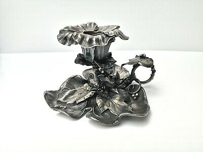 RARE ART NOUVEAU FRENCH PEWTER / Bronze chamber candle holder, stamped
